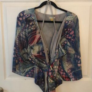 EUC Leifsdottir cropped silk bell sleeve top sz 0